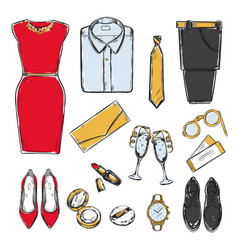 Colored doodle evening wardrobe collection vector
