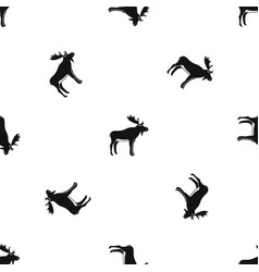 Deer pattern seamless black vector