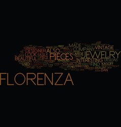 Florenza vintage jewelry designer text background vector