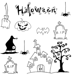 Halloween set castle hat pumpkins tomb vector image