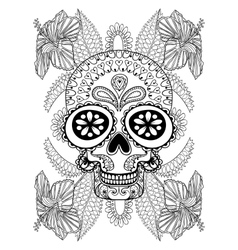 Hand drawn artistic Skull in flowers for adult vector image