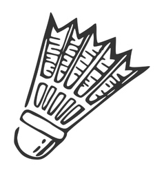 Hand drawn nylon shuttlecock vector image