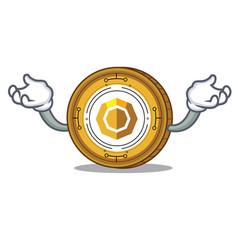 Hand up komodo coin character cartoon vector