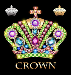 imperial gold crown with jewels vector image vector image