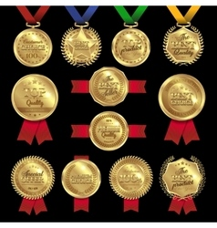 Medal awards labels set vector
