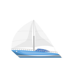 Modern luxury yacht side view isolated icon vector