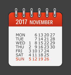 november 2017 calendar daily icon vector image vector image