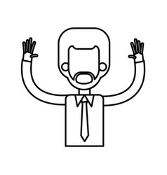 Outlined male hands up tie shirt vector