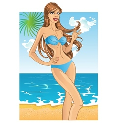 Pretty blond woman with gorgeous health hair in vector image