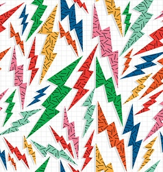 Retro vintage thunder bolt lighting ray 80 pattern vector