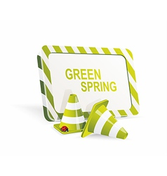 Safety cones with spring banner vector image