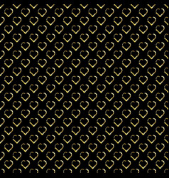 seamless background with gold hearts on black vector image vector image