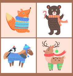 set of posters with animals vector image vector image