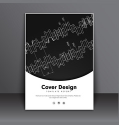 Template flyer with technical drawings of vector