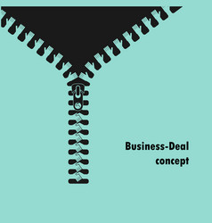 zipper symbol and handshake businessman agreement vector image