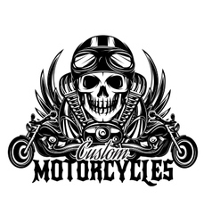 monochrome image with skulls motorcycles vector image