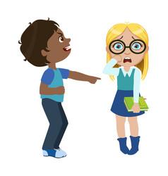 Boy mocking a girl part of bad kids behavior and vector