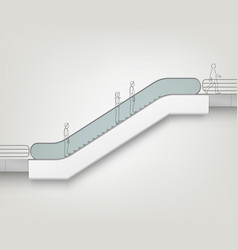 Modern escalator side view isolated vector