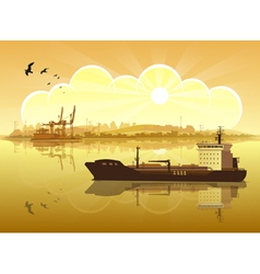 Ship on the background of the coast vector