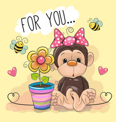 greeting card cute cartoon monkey with flower vector image
