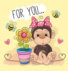 Greeting card cute cartoon monkey with flower vector