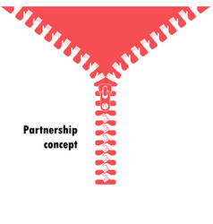 Zipper symbol and handshake businessman agreement vector