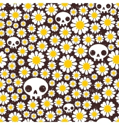 Camomile and skull seamless pattern vector