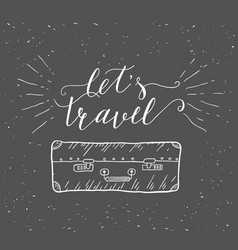 Travel inspiration quote with suitcase silhouette vector