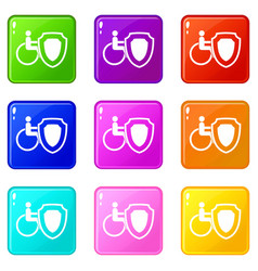 Wheelchair and safety shield set 9 vector