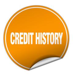 Credit history round orange sticker isolated on vector