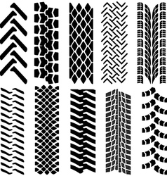 Set of detailed tire prints vector