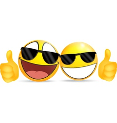 Emoticon wearing glasses with thumb vector