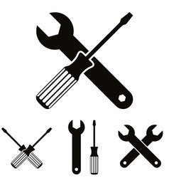 Repair icon set with wrenches and screwdrivers vector