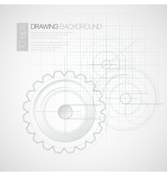 Background with drawing gears vector