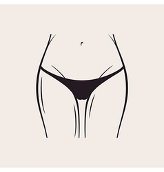 Sexy black panties icon women thong slim figure vector