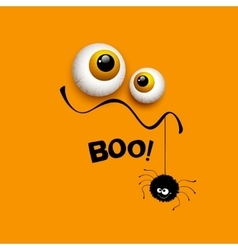 Funny halloween greeting card monster eyes vector
