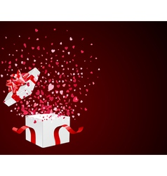 open gift present box with fly hearts vector image