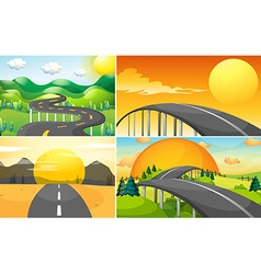 Four scenes of road to the countryside vector image