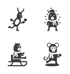 Set flat icon in black and white style christmas vector