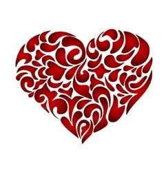 Abstract floral patterned heart vector image