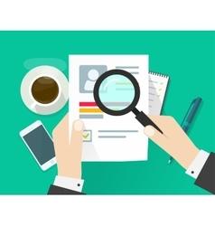 CV application paper sheet business man hands vector image