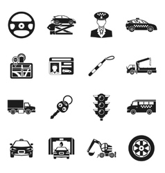 Driver black white icons set vector