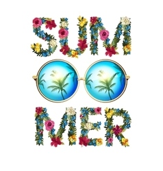 Summer  shiny sun with floral vector