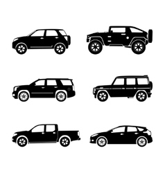 Black silhouette cars on white background vector