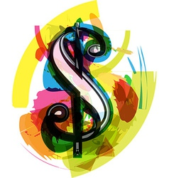 Artistic dollar symbol vector
