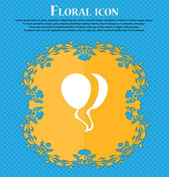 Balloon Icon sign Floral flat design on a blue vector image