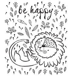 be happy cute lion cartoon vector image