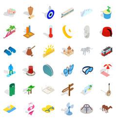 big vacation icons set isometric style vector image
