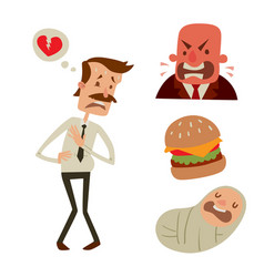 businessman heart risk man heart attack stress vector image vector image