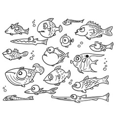 cartoon collection set of hand drawn cute fish vector image